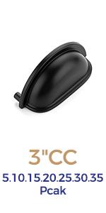Ravinte 3 inch  Drawer Pulls Flat Black Cabinet Cup Pulls Kitchen Hardware Cabinet Handles