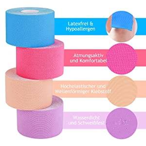 tape kinesio kineso-tape elastisches kinesiologie tape für den sport physiotape