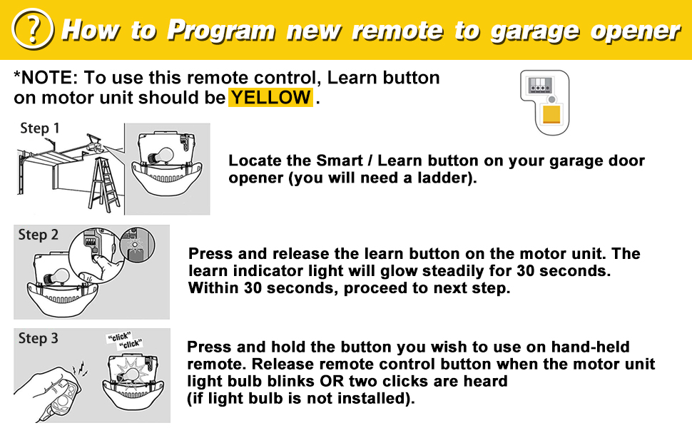 Garage Door Remote Compatible Chamberlain Liftmaster Craftsman Opener Has Yellow Learn Button On Motor Unit With 310mhz 315mhz 390mhz Technology Security 2 0 Garage Opener Yellow Learn Button Only Amazon Ca Tools Home Improvement