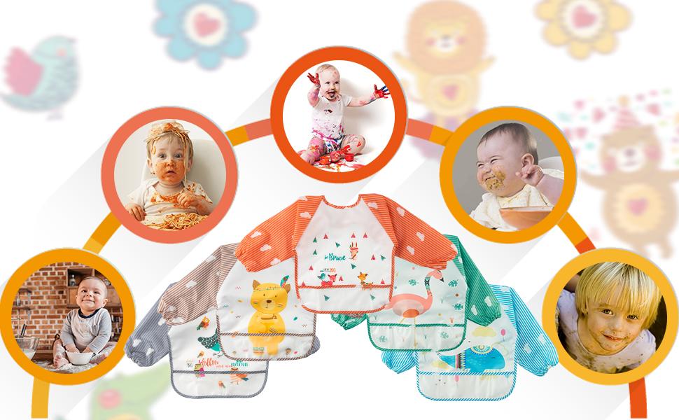 YA-Animal Long Sleeved Toddler Bibs 5P