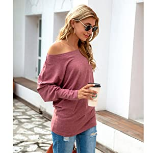 Women's Fall Off Shoulder Oversized Tunic Tops Casual Boat Neck Long Sleeve Pullover Shirts Blouse