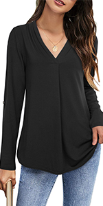 Womenamp;amp;#39;s Pleated V Neck Blouses 3/4 Roll Up Sleeve Tunics Tops