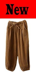 Womenamp;amp;amp;amp;amp;amp;amp;#39;s Cropped Corduroy Pants Elastic Waist Retro Trouser with Pockets