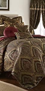 Seville 9-Piece Jacquard Medallion Paisley Comforter Set, Burgundy