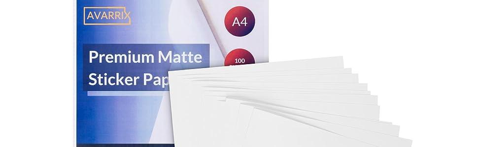 Matte Self Adhesive A4 Sticker Paper - 100 Premium Printable Label Sheets - Inkjet Laser Printer