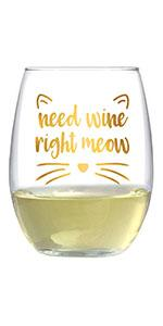 Text says Need wine right meow, with cat ears and whiskers printed around text.