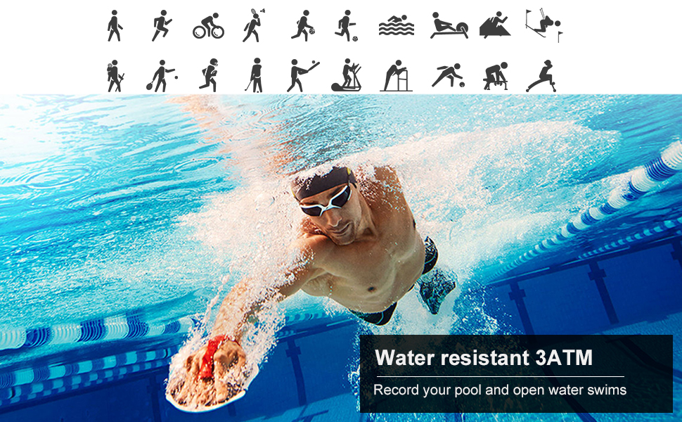20 modes sports modes, water resistant 3ATM