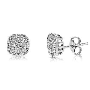 Vir Jewels 1/10 cttw Diamond Earrings .925 Sterling Silver with Rhodium Plating