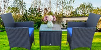 Rattan Wicker Chairs w/Table Outdoor Garden Sofa Washable Cushion & Tempered Glass Table top