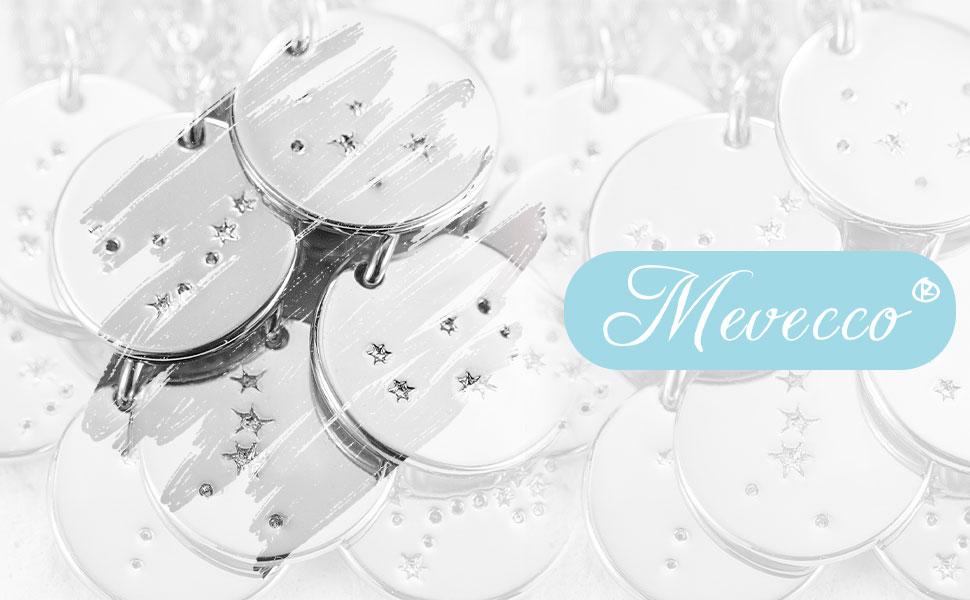 Sliver Necklace Coin Disc Zodiac 12 Constellation Aquarius Star Engraved Sliver Plated Chain