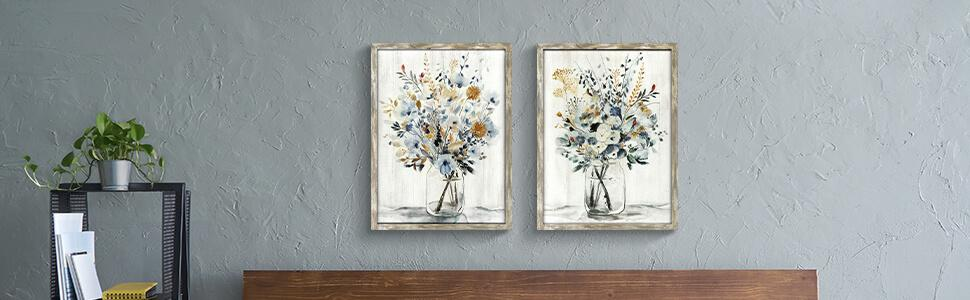 Wooden frame wall art print on solid wood florals
