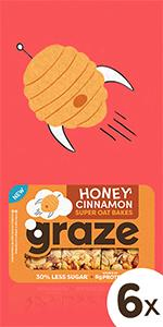 graze honey cinnamon super oat bakes havermoutrepen | 6 x 57 gram