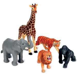 Realistic jungle animals lion tiger gorilla elephant giraffe imaginative play vocabulary development