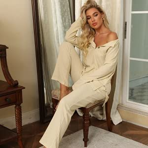 Sexy button v neck blouse shirts with lounge pants womens casual lounge sets