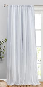 white double layer curtains