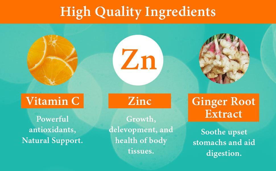 NutriCelebrity Vitamin C Chewables high quality ingredients zinc and ginger root extract