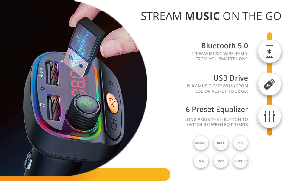 CRUST CS30 Car Bluetooth Device with Call Receiver FM Transmitter for Music System