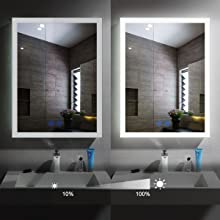 mirror with dimmer