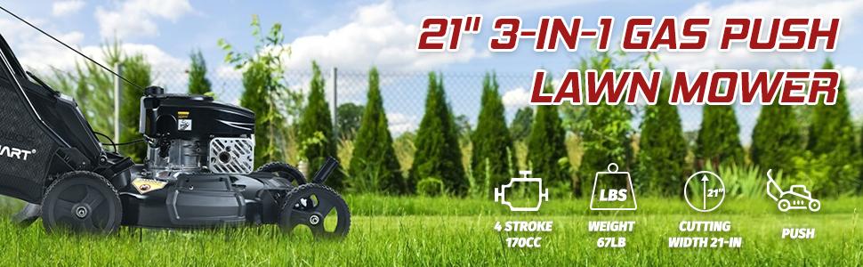 21'' 3-in-1 gas push lawn mower