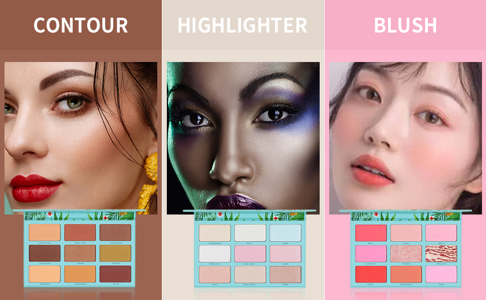 contour makeup cosmetics palette bronzer smooth versatile body shimmer