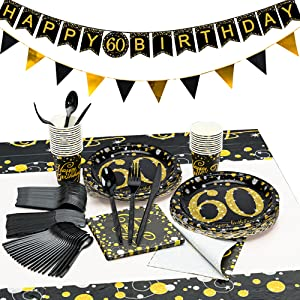 60 birthday party supplies