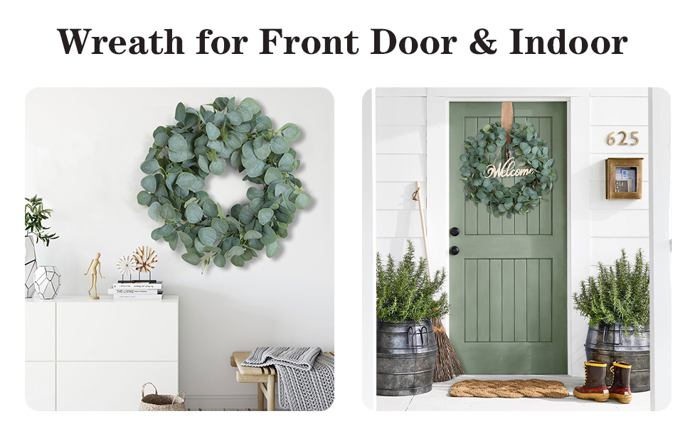 eucalyptus leaf wreath for front door home decor