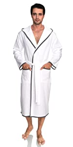 TowelSelections Mens Robe, Cotton Lined Hooded Terry Bathrobe