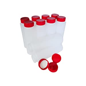 HDPE Plastic Bottles with Red Flip Caps