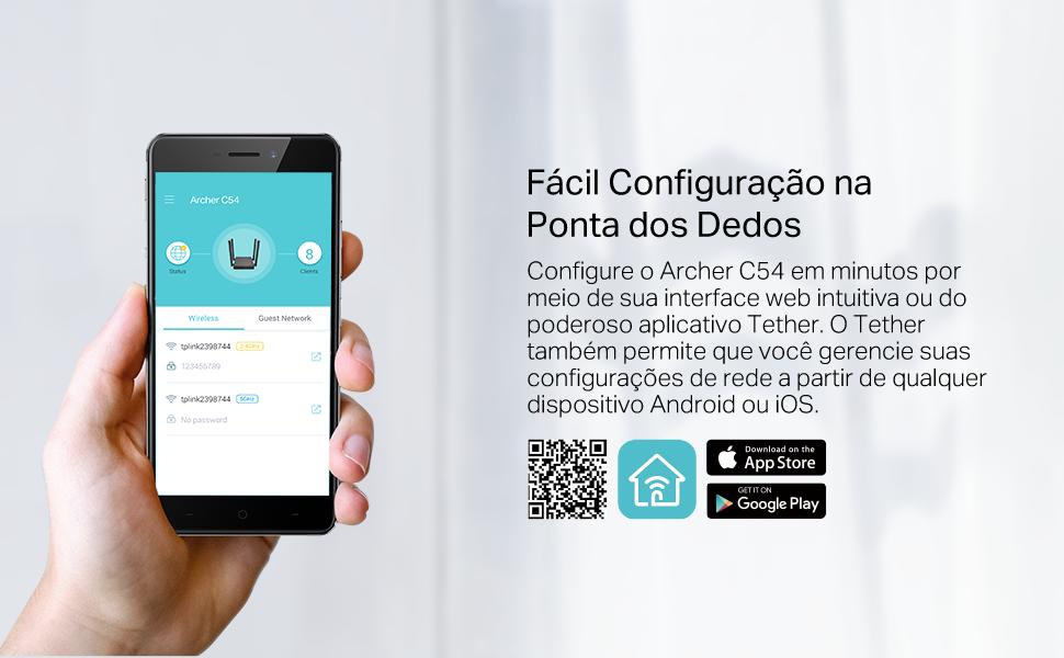 Fácil configuração com o app Tether