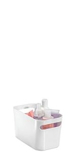 White Plastic Bathroom Curved Storage Organizer Bin with Handles Containing Shower Supplies Bottles