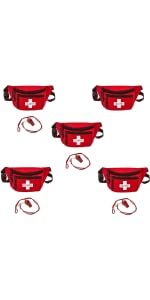 Lifeguard Hip Pack with Whistle and Lanyard 5-Pack