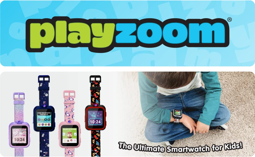 Playzoom Logo. The ultimate smartwatch for kids!