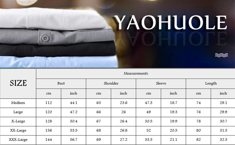 Yaohuole Men's Casual Button Down Shirt Long Sleeve Cotton Beach Shirt