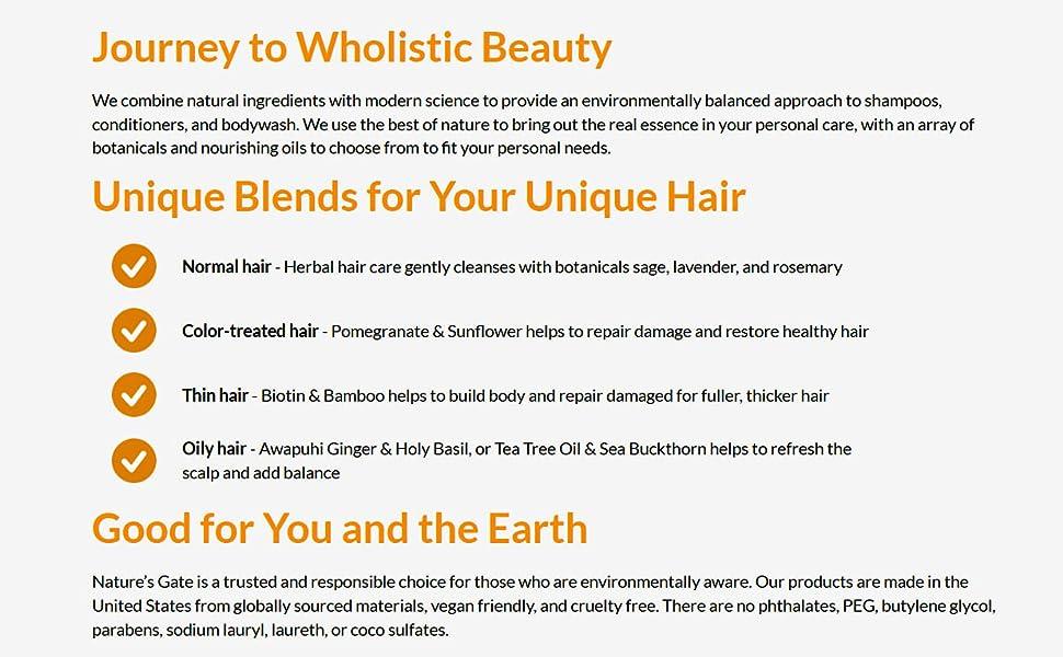 Nature's Gate, Herbal Hair Shampoo, Hair Conditioner