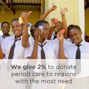 We give 2% to donate period care to regions with the most need