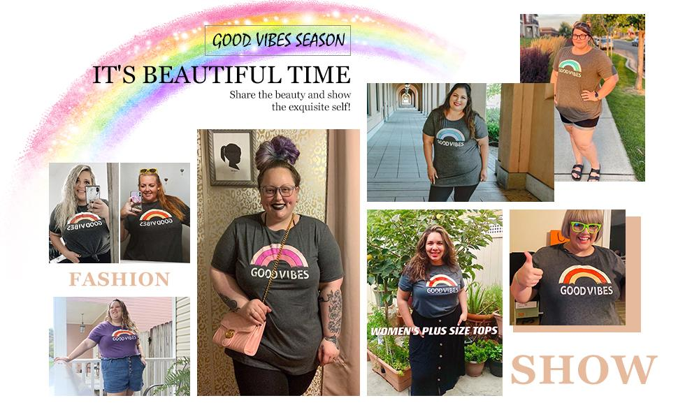 Plus Size Tops for Women Summer 2X Loose Fit T Shirts