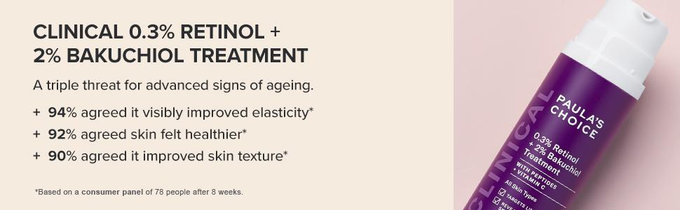 CLINICAL 0.3% Retinol + 2% Bakuchiol Treatment is a triple threat for advanced signs of ageing.