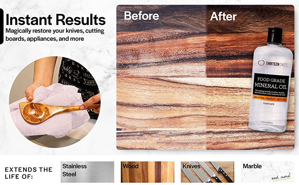 Instant Results; magically restores your knives, cutting boards, appliances and more