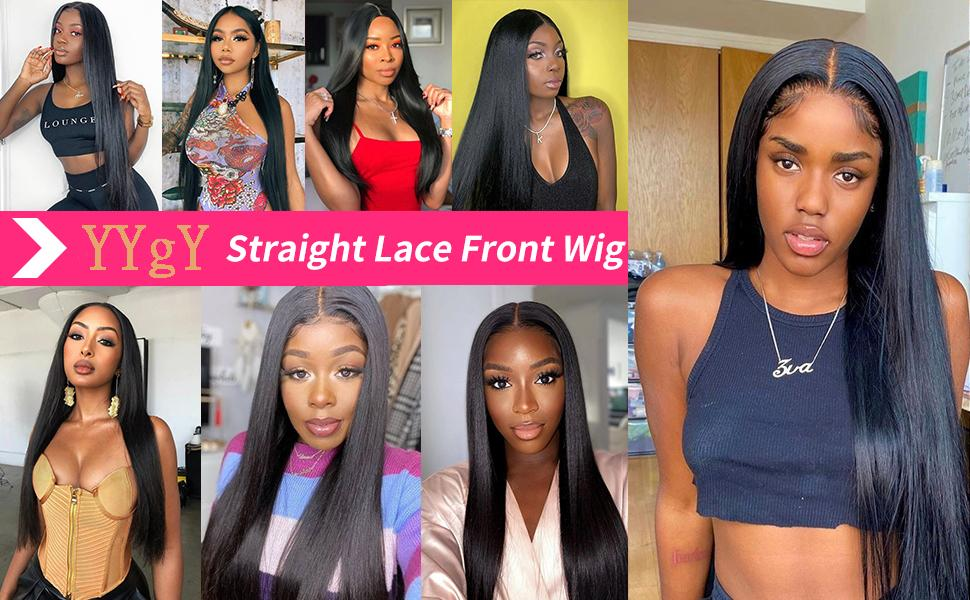 YYgY lace Front Human hair Straight lace wigs