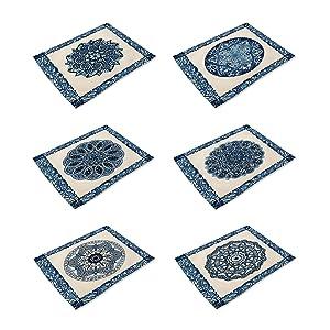 HACASO Set of 6 Vintage Style Mandala Pattern Placemats