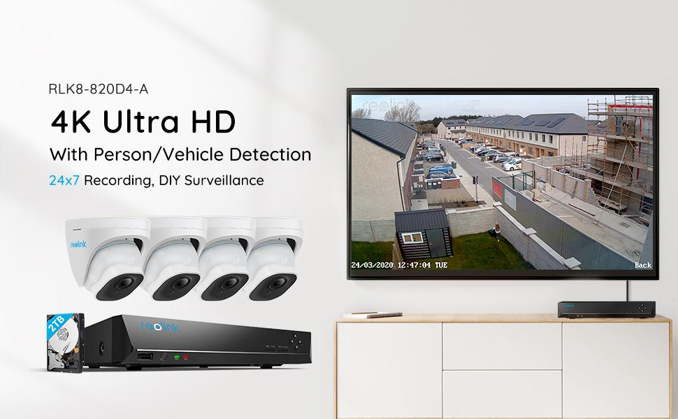 820D4-A Security Camera System with Person/Vehicle Detection
