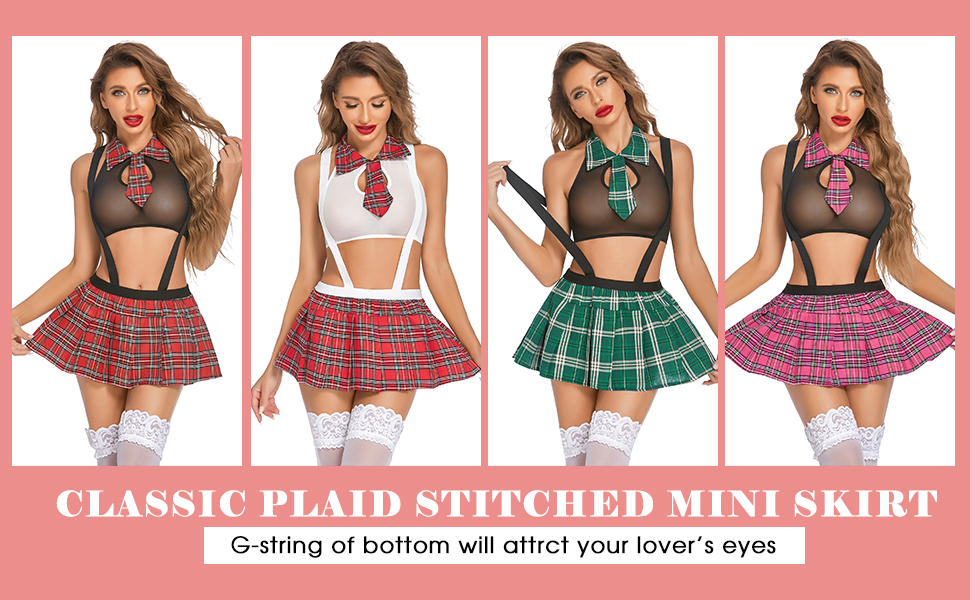 Schoolgirl Lingerie for Women Sexy Student Costumes Lingerie Set with Tie Top Shirt and Mini Skirt