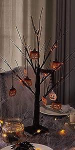 Halloween Tree with Orange Lights and Pumpkin Decoration