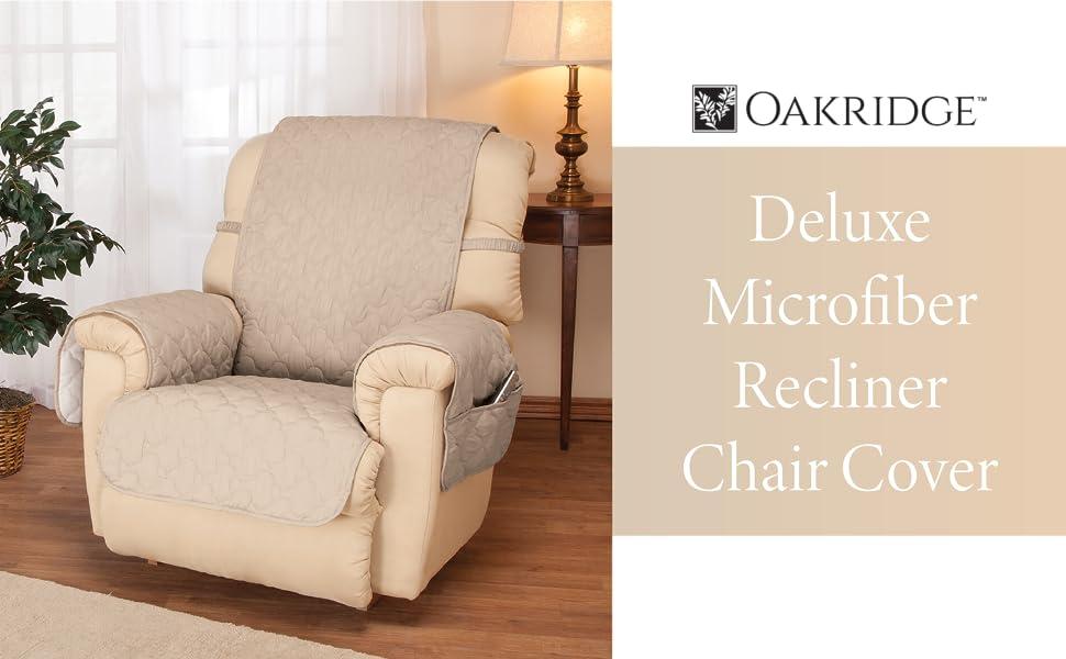 OakRidge Deluxe Microfiber Recliner Chair Cover, Beige