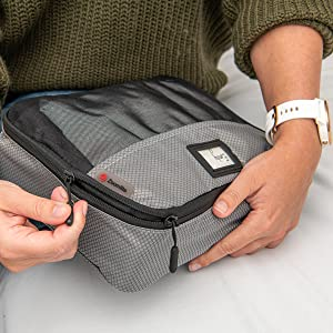 Smooth glide zippers help compress your packing in Zoomlite packing cubes