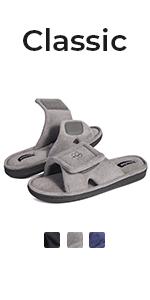 HomeTop Menamp;#39;s Cozy Coral Velvet Memory Foam Open Toe Slipper with Adjustable Hook and Loop