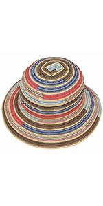 Happy Schlapphut mit bunten Streifen aus Stroh und für Damen