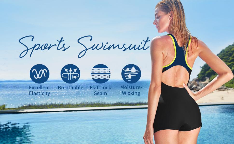 women one piece swimsuit boyleg one piece bathing suit