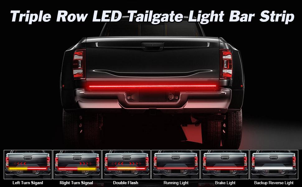 LED Tailgate Light Bar Triple Row Tail Light Bar for Pickup Trailer SUV RV Van Full Function Red