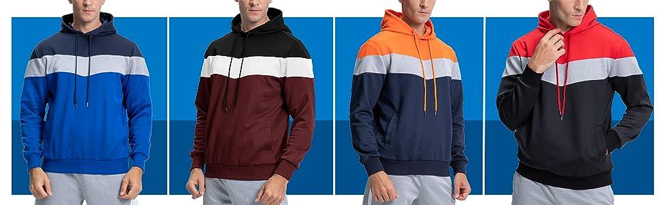 EKLENTSON Mens Sweatshirt Casual Striped Color Sport Hoodies Pullovers Outwear